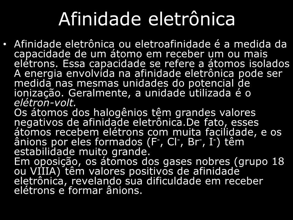 Afinidade eletrônica Afinidade eletrônica ou eletroafinidade é a medida da capacidade de um átomo em receber um ou mais elétrons.