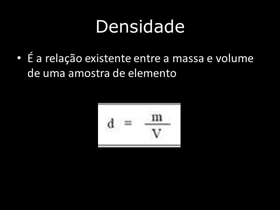Densidade É a relação existente entre a massa e volume de uma amostra de elemento