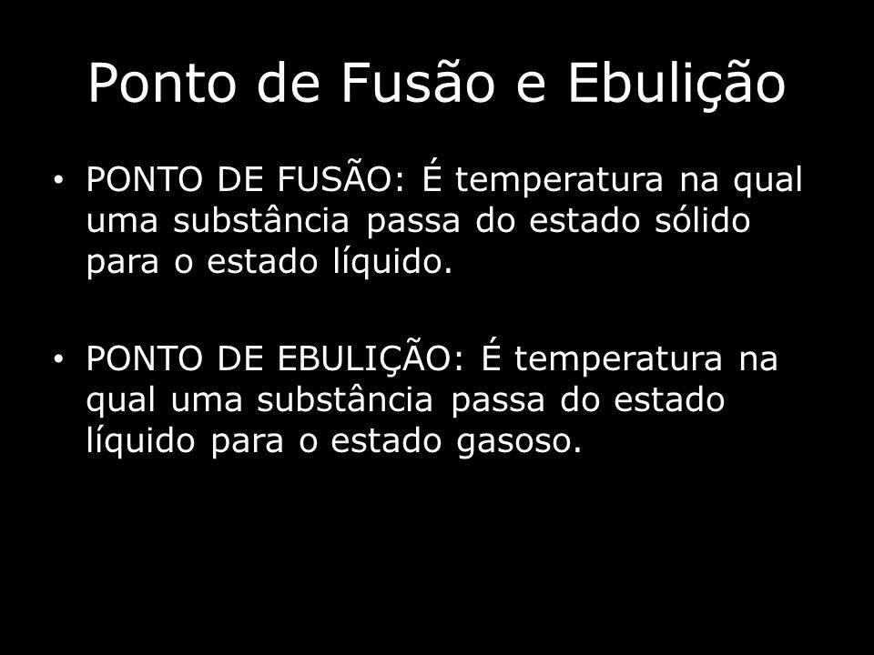 Ponto de Fusão e Ebulição PONTO DE FUSÃO: É temperatura na qual uma substância passa do estado sólido para o estado líquido.