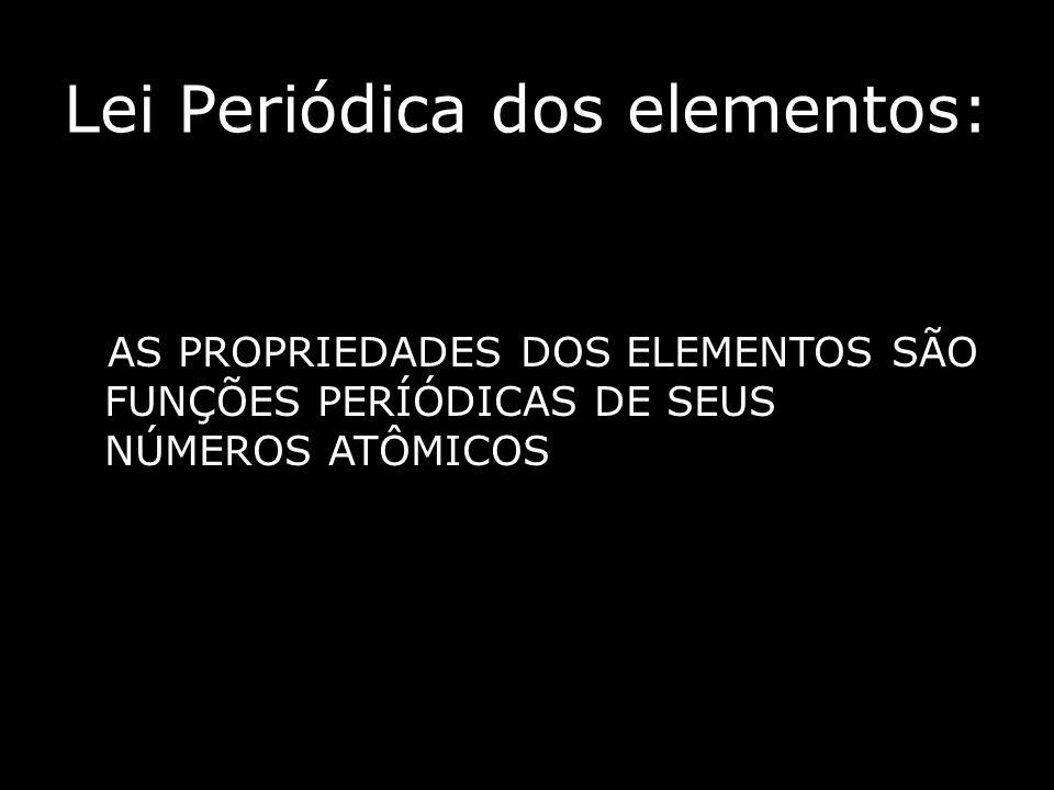 Lei Periódica dos elementos: AS PROPRIEDADES DOS ELEMENTOS SÃO FUNÇÕES PERÍÓDICAS DE SEUS NÚMEROS ATÔMICOS