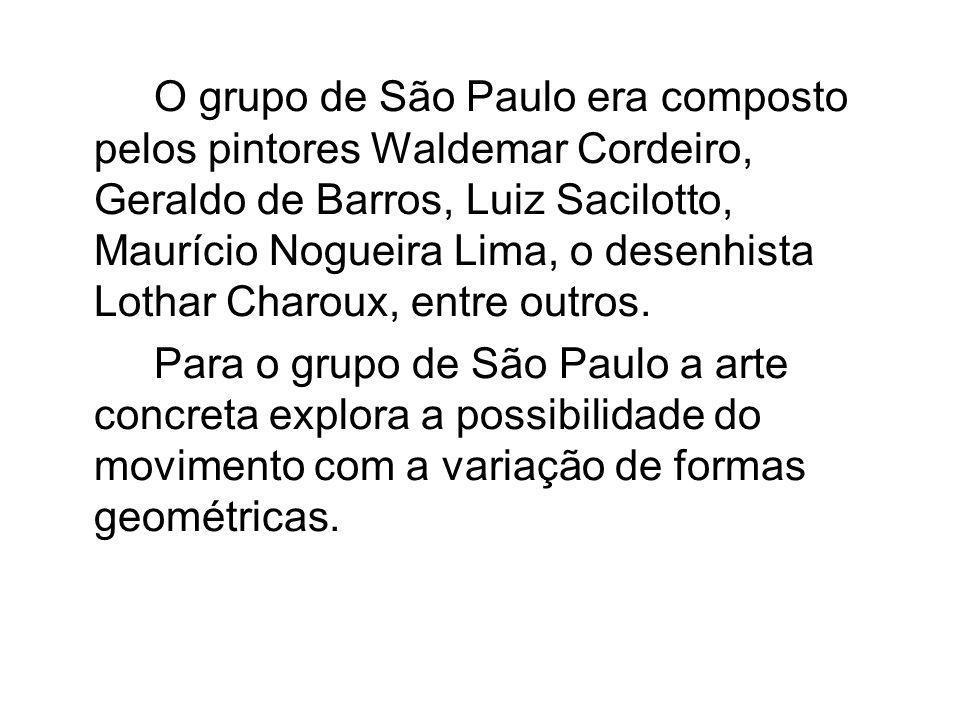 O grupo de São Paulo era composto pelos pintores Waldemar Cordeiro, Geraldo de Barros, Luiz Sacilotto, Maurício Nogueira Lima, o desenhista Lothar Cha