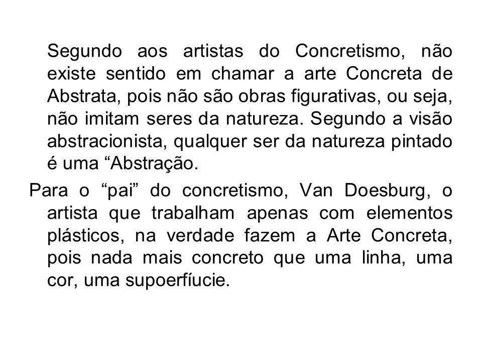 Segundo aos artistas do Concretismo, não existe sentido em chamar a arte Concreta de Abstrata, pois não são obras figurativas, ou seja, não imitam ser