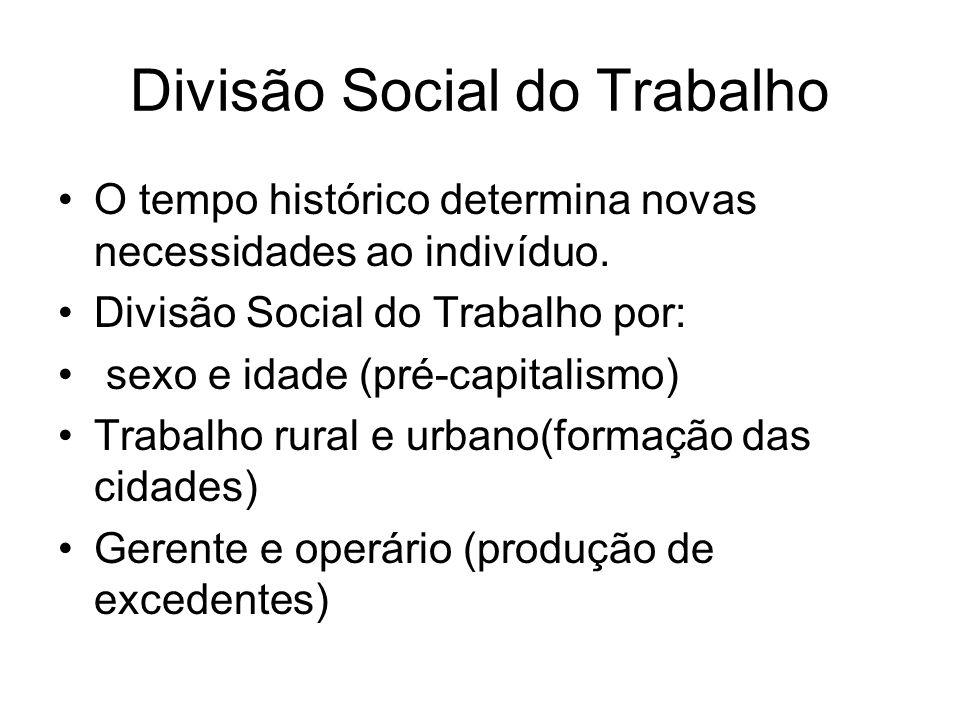 Divisão Social do Trabalho O tempo histórico determina novas necessidades ao indivíduo.