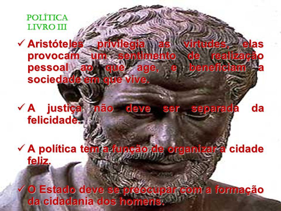 Aristóteles privilegia as virtudes, elas provocam um sentimento de realização pessoal ao que age, e beneficiam a sociedade em que vive.