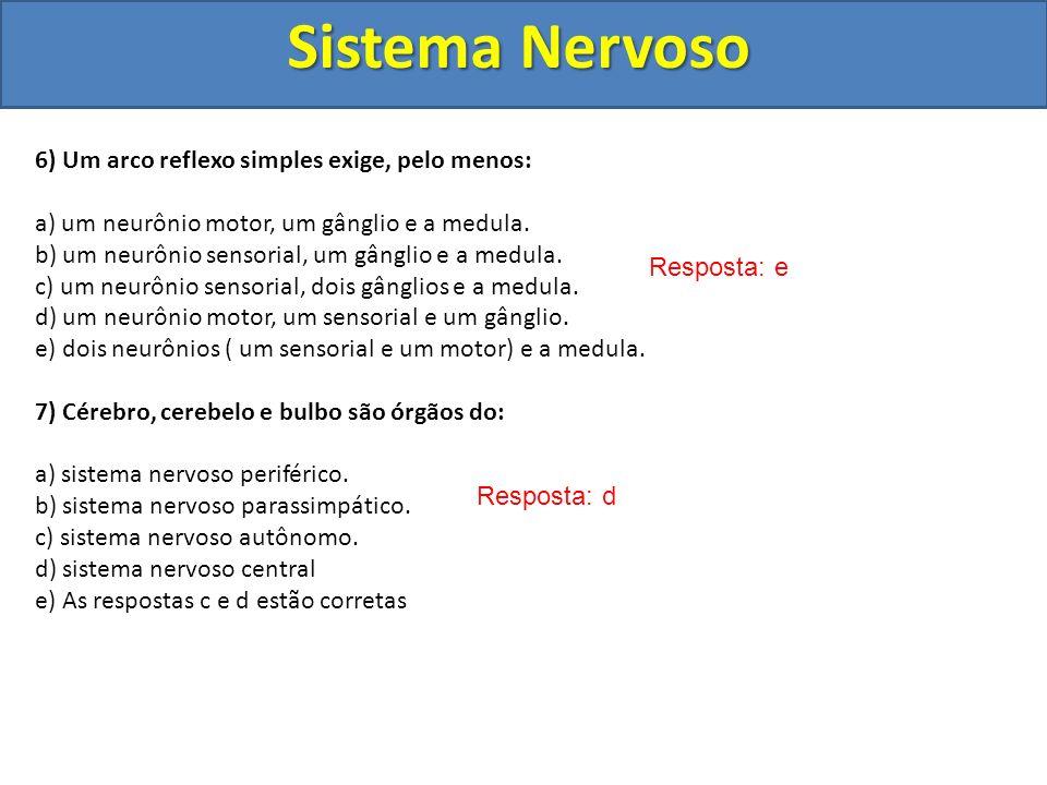 Sistema Nervoso 6) Um arco reflexo simples exige, pelo menos: a) um neurônio motor, um gânglio e a medula. b) um neurônio sensorial, um gânglio e a me