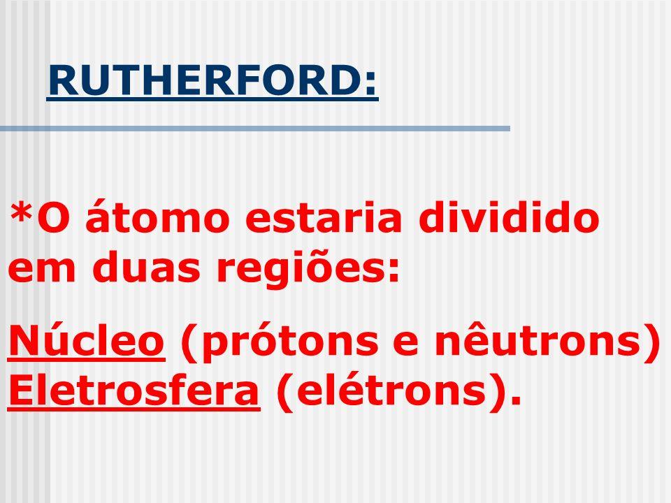 RUTHERFORD: *O átomo estaria dividido em duas regiões: Núcleo (prótons e nêutrons) Eletrosfera (elétrons).