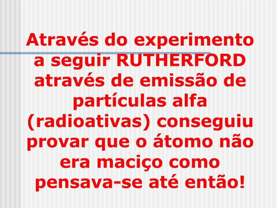 Através do experimento a seguir RUTHERFORD através de emissão de partículas alfa (radioativas) conseguiu provar que o átomo não era maciço como pensav