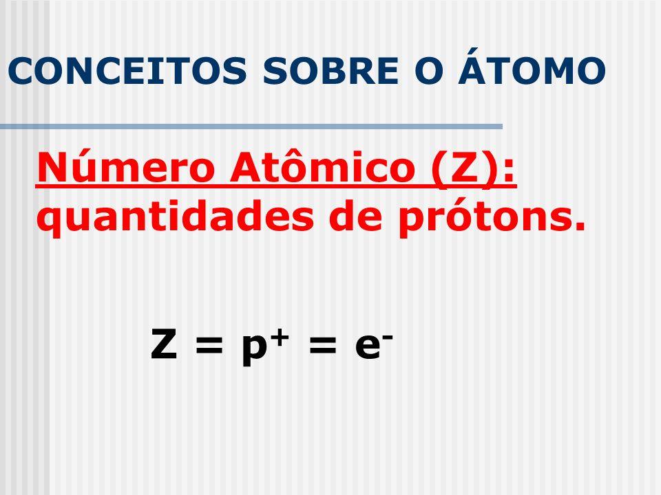 CONCEITOS SOBRE O ÁTOMO Número Atômico (Z): quantidades de prótons. Z = p + = e -