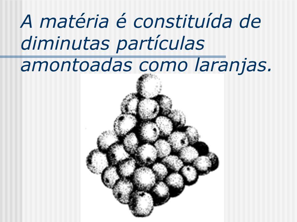 A matéria é constituída de diminutas partículas amontoadas como laranjas.