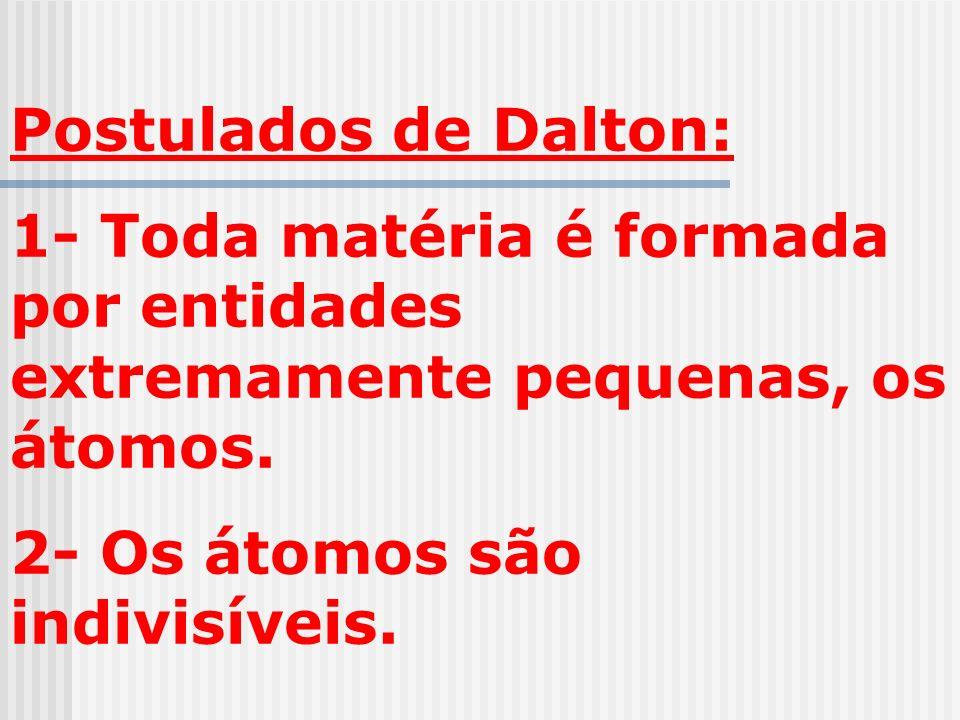 Postulados de Dalton: 1- Toda matéria é formada por entidades extremamente pequenas, os átomos. 2- Os átomos são indivisíveis.
