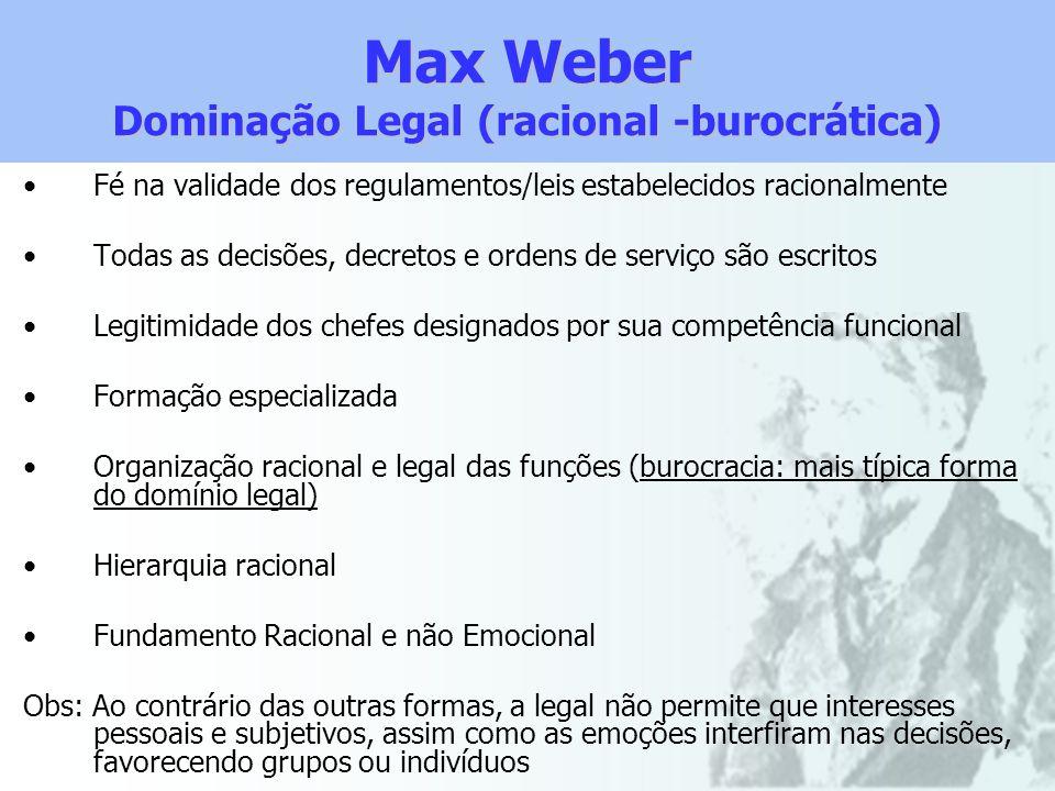 Max Weber Dominação Legal (racional -burocrática) Fé na validade dos regulamentos/leis estabelecidos racionalmente Todas as decisões, decretos e orden