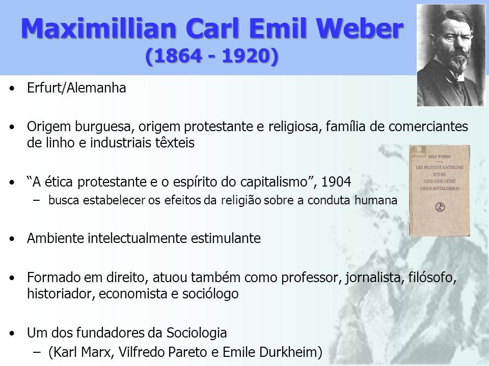 Maximillian Carl Emil Weber (1864 - 1920) Erfurt/Alemanha Origem burguesa, origem protestante e religiosa, família de comerciantes de linho e industri