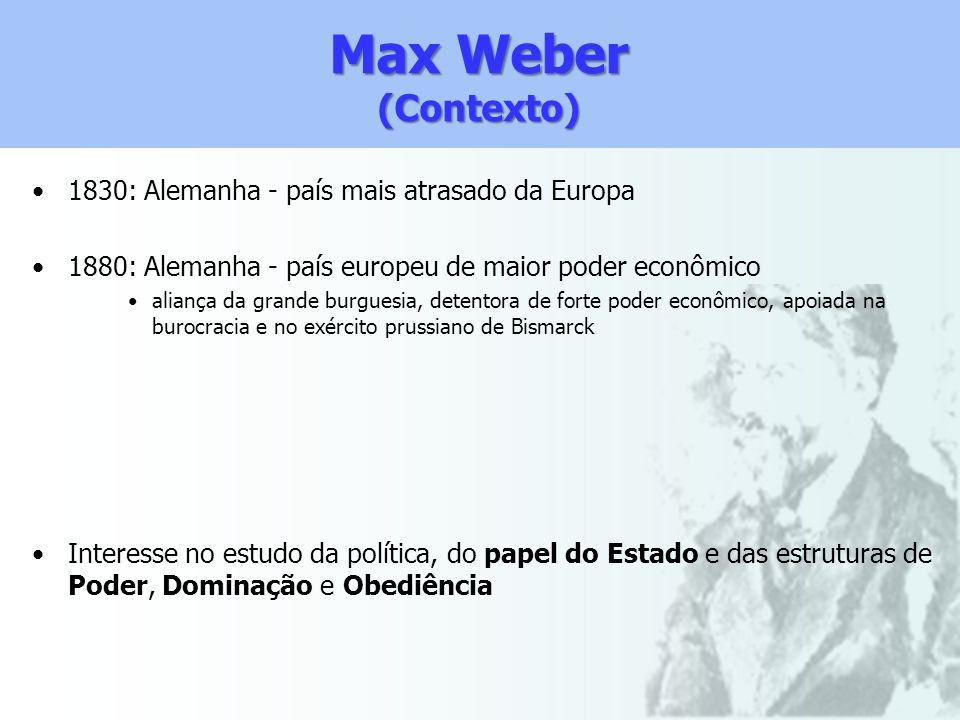 Max Weber (Contexto) 1830: Alemanha - país mais atrasado da Europa 1880: Alemanha - país europeu de maior poder econômico aliança da grande burguesia,