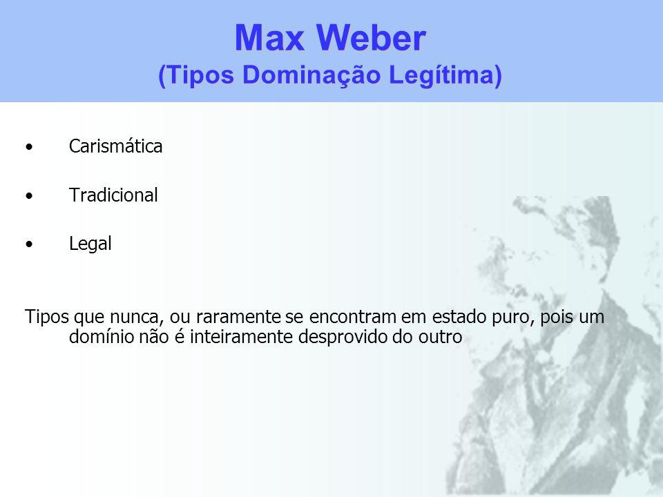 Max Weber (Tipos Dominação Legítima) Carismática Tradicional Legal Tipos que nunca, ou raramente se encontram em estado puro, pois um domínio não é in