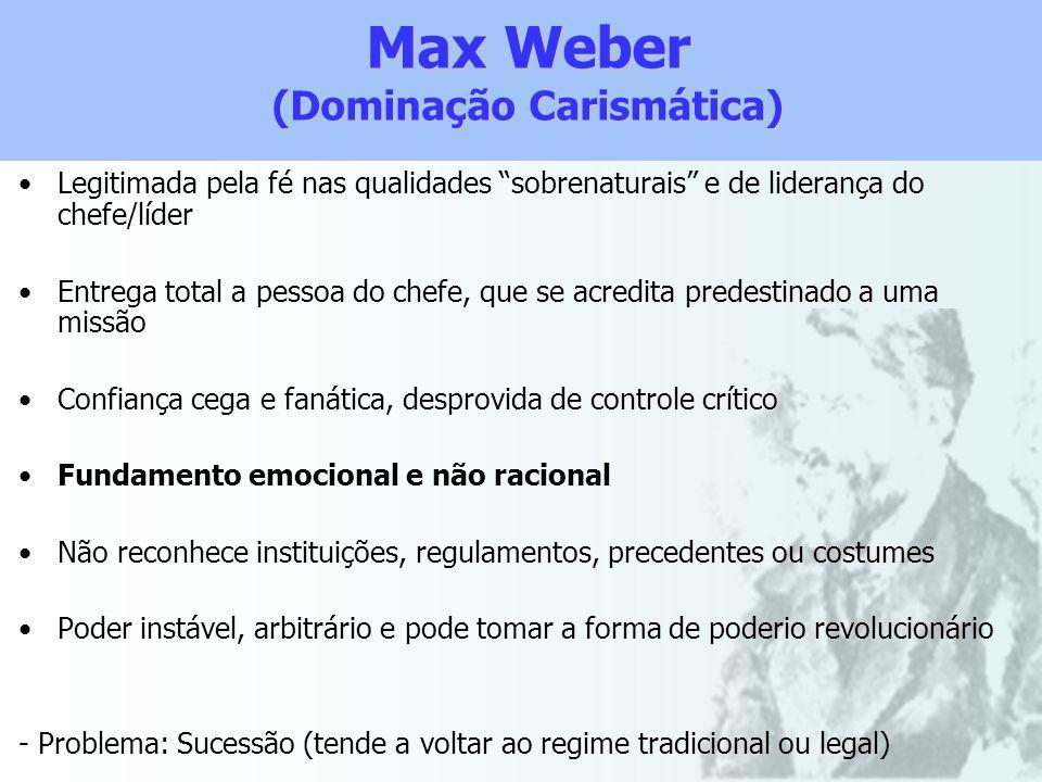 Max Weber (Dominação Carismática) Legitimada pela fé nas qualidades sobrenaturais e de liderança do chefe/líder Entrega total a pessoa do chefe, que s
