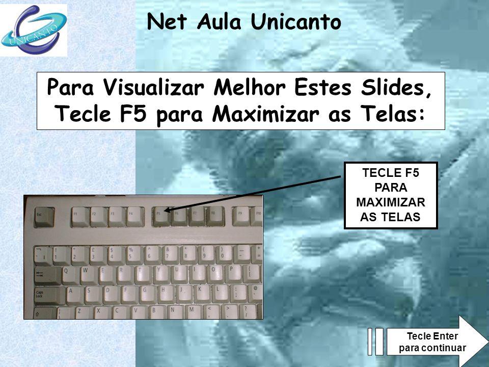 Net Aula Unicanto TECLE F5 PARA MAXIMIZAR AS TELAS Para Visualizar Melhor Estes Slides, Tecle F5 para Maximizar as Telas: Tecle Enter para continuar