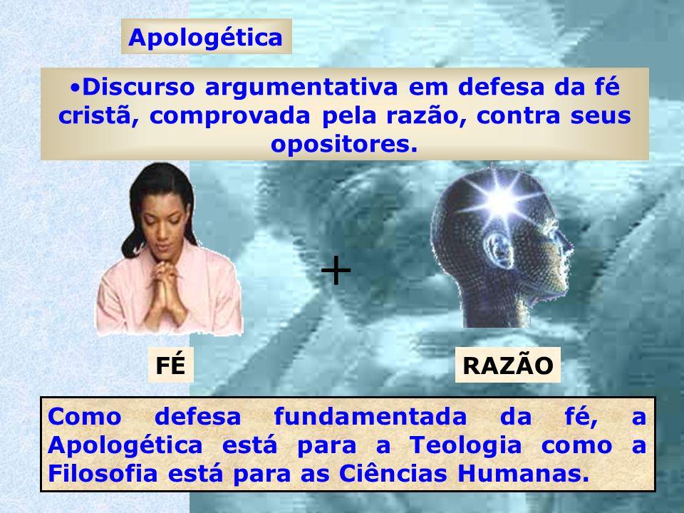 Apologética Discurso argumentativa em defesa da fé cristã, comprovada pela razão, contra seus opositores. Como defesa fundamentada da fé, a Apologétic