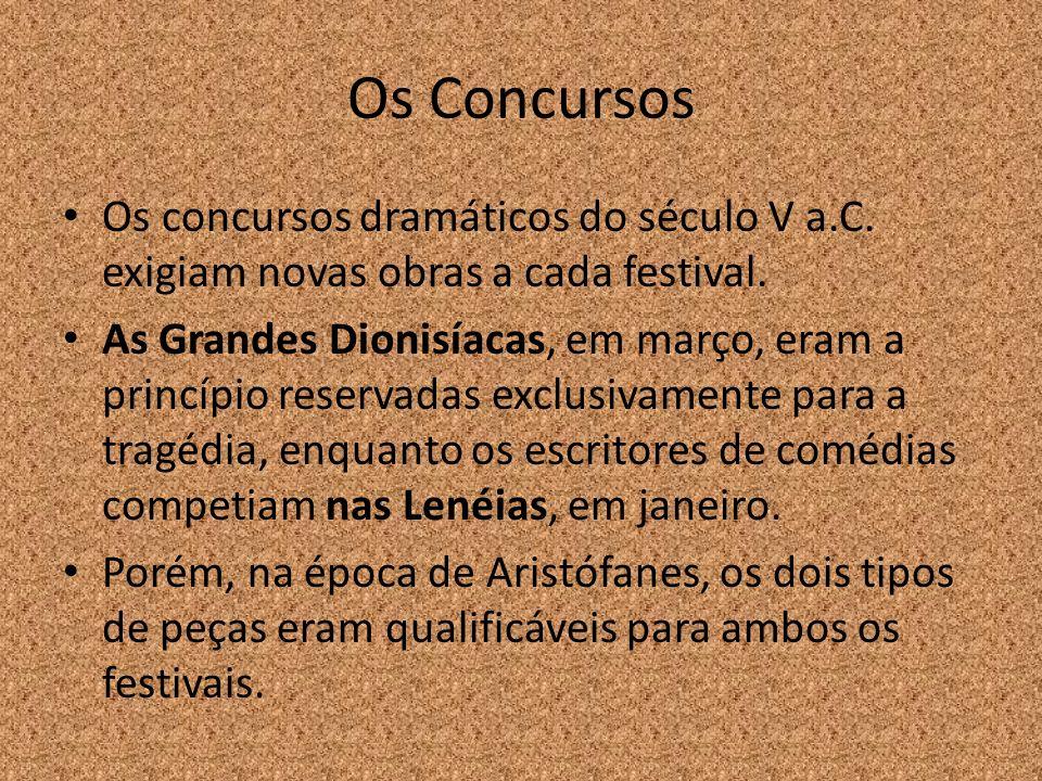 Os Concursos Os concursos dramáticos do século V a.C. exigiam novas obras a cada festival. As Grandes Dionisíacas, em março, eram a princípio reservad
