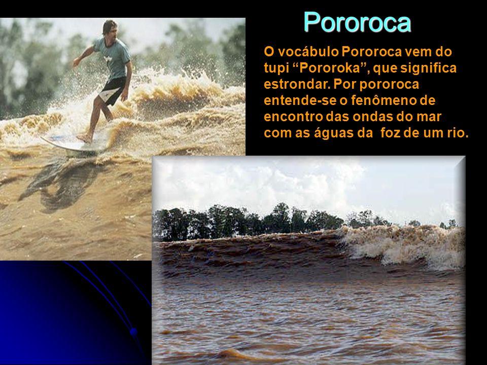 Pororoca O vocábulo Pororoca vem do tupi Pororoka, que significa estrondar. Por pororoca entende-se o fenômeno de encontro das ondas do mar com as águ