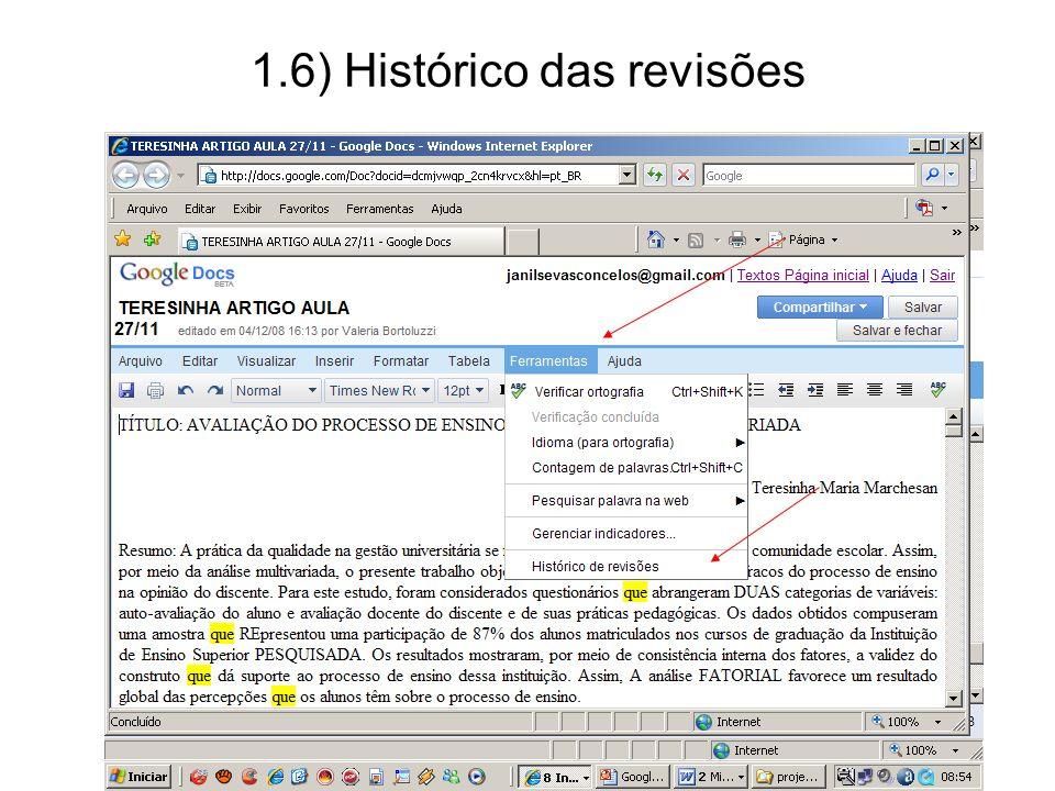 1.6) Histórico das revisões