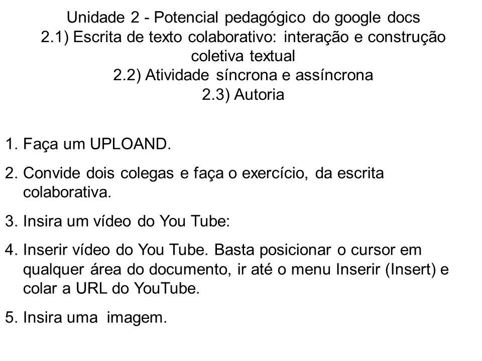 Unidade 2 - Potencial pedagógico do google docs 2.1) Escrita de texto colaborativo: interação e construção coletiva textual 2.2) Atividade síncrona e