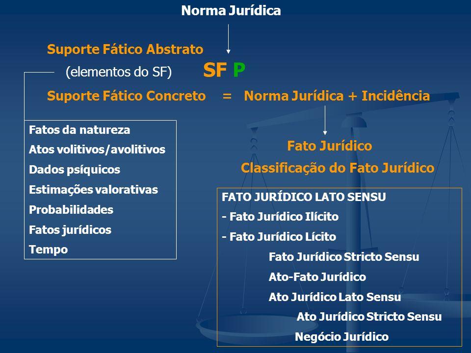 Norma Jurídica SF P Suporte Fático Abstrato Suporte Fático Concreto= Norma Jurídica + Incidência (elementos do SF) Fatos da natureza Atos volitivos/av