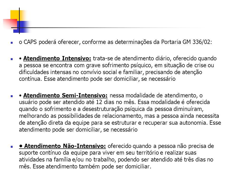 o CAPS poderá oferecer, conforme as determinações da Portaria GM 336/02: Atendimento Intensivo: trata-se de atendimento diário, oferecido quando a pes