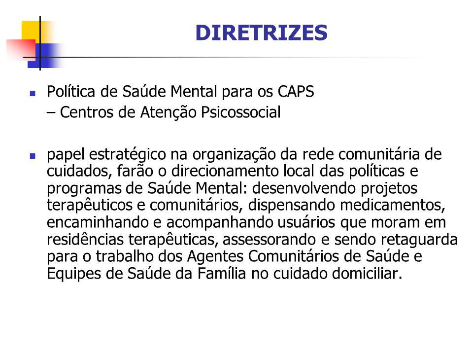 DIRETRIZES Política de Saúde Mental para os CAPS – Centros de Atenção Psicossocial papel estratégico na organização da rede comunitária de cuidados, f