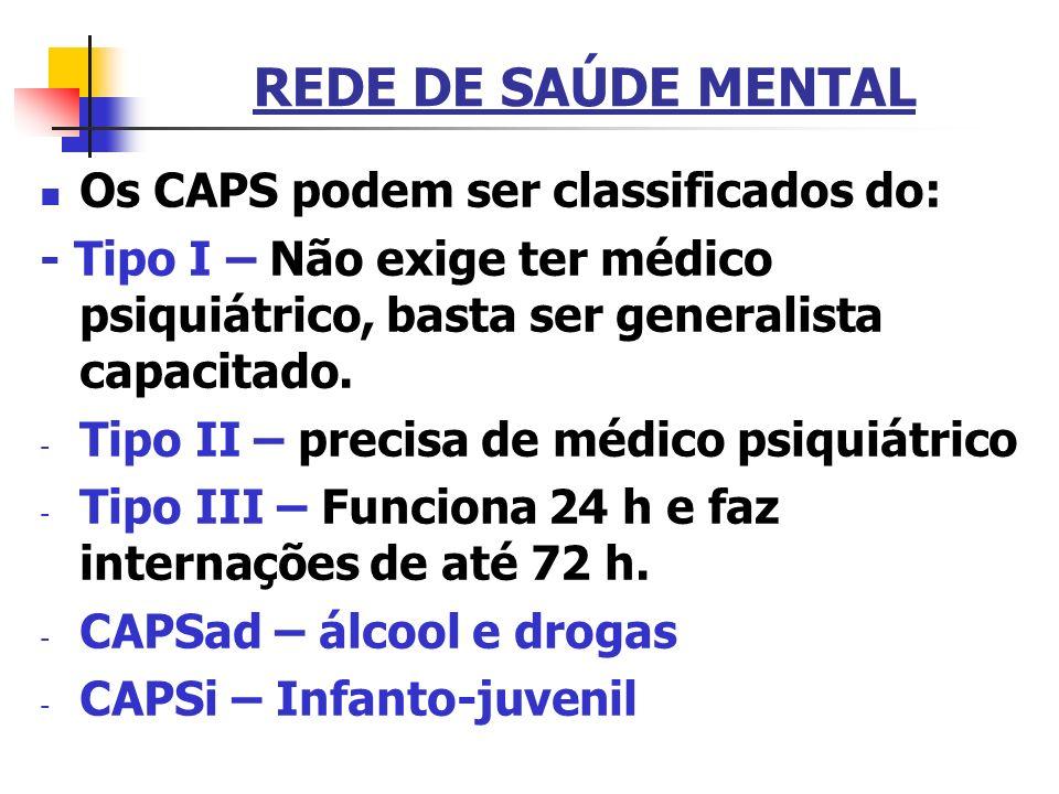 REDE DE SAÚDE MENTAL Os CAPS podem ser classificados do: - Tipo I – Não exige ter médico psiquiátrico, basta ser generalista capacitado. - Tipo II – p
