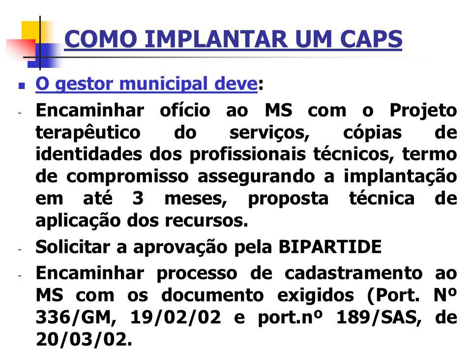 COMO IMPLANTAR UM CAPS O gestor municipal deve: - Encaminhar ofício ao MS com o Projeto terapêutico do serviços, cópias de identidades dos profissiona