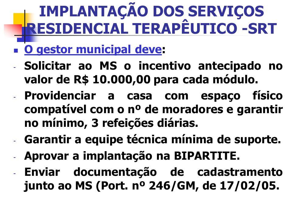IMPLANTAÇÃO DOS SERVIÇOS RESIDENCIAL TERAPÊUTICO -SRT O gestor municipal deve: - Solicitar ao MS o incentivo antecipado no valor de R$ 10.000,00 para
