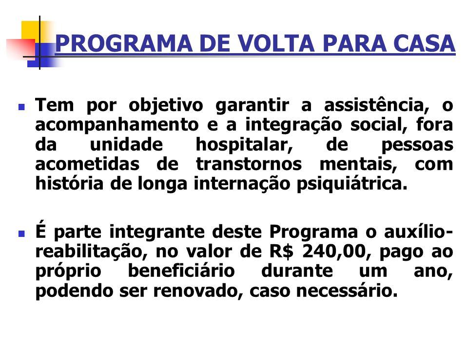 PROGRAMA DE VOLTA PARA CASA Tem por objetivo garantir a assistência, o acompanhamento e a integração social, fora da unidade hospitalar, de pessoas ac
