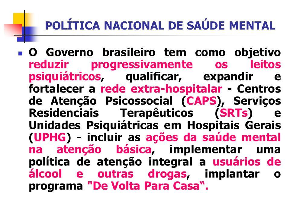 POLÍTICA NACIONAL DE SAÚDE MENTAL O Governo brasileiro tem como objetivo reduzir progressivamente os leitos psiquiátricos, qualificar, expandir e fort