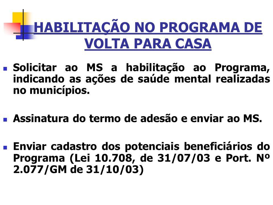 HABILITAÇÃO NO PROGRAMA DE VOLTA PARA CASA Solicitar ao MS a habilitação ao Programa, indicando as ações de saúde mental realizadas no municípios. Ass