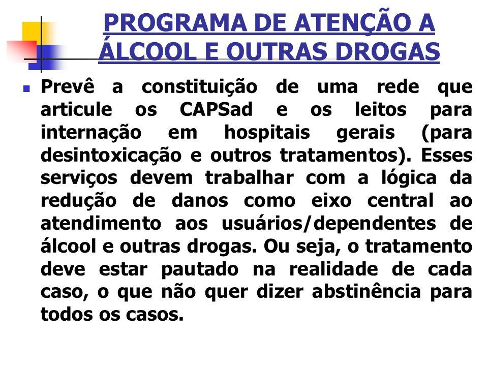 PROGRAMA DE ATENÇÃO A ÁLCOOL E OUTRAS DROGAS Prevê a constituição de uma rede que articule os CAPSad e os leitos para internação em hospitais gerais (
