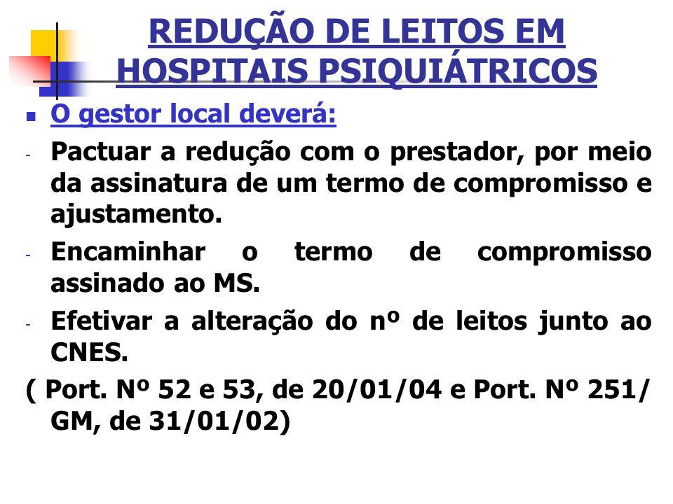 REDUÇÃO DE LEITOS EM HOSPITAIS PSIQUIÁTRICOS O gestor local deverá: - Pactuar a redução com o prestador, por meio da assinatura de um termo de comprom
