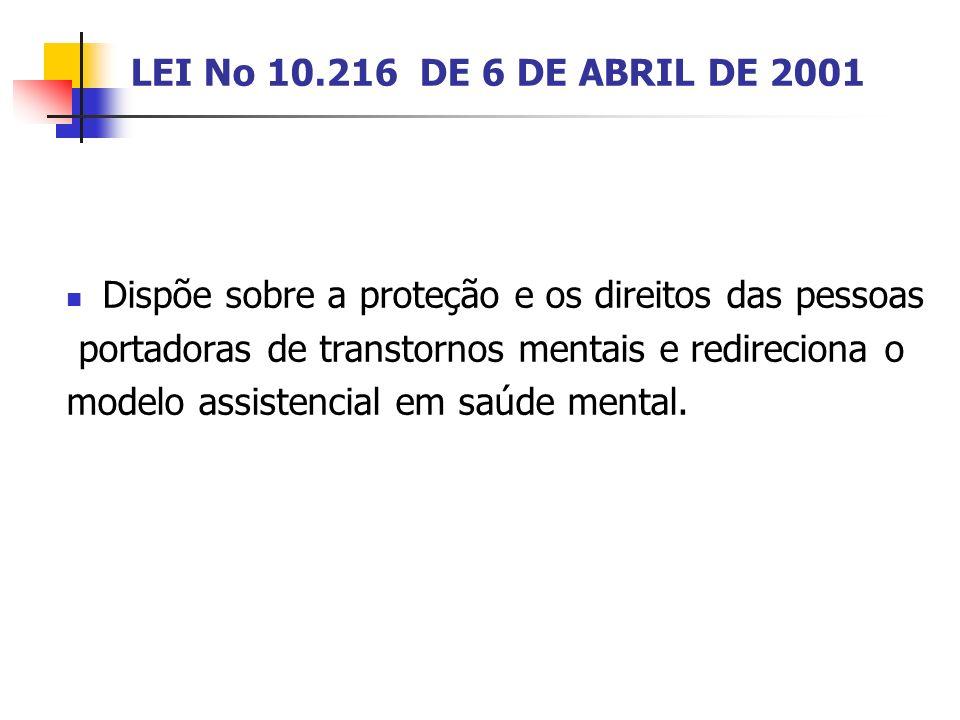 LEI No 10.216 DE 6 DE ABRIL DE 2001 Dispõe sobre a proteção e os direitos das pessoas portadoras de transtornos mentais e redireciona o modelo assiste