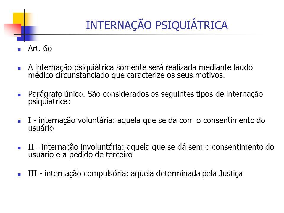 INTERNAÇÃO PSIQUIÁTRICA Art. 6o A internação psiquiátrica somente será realizada mediante laudo médico circunstanciado que caracterize os seus motivos