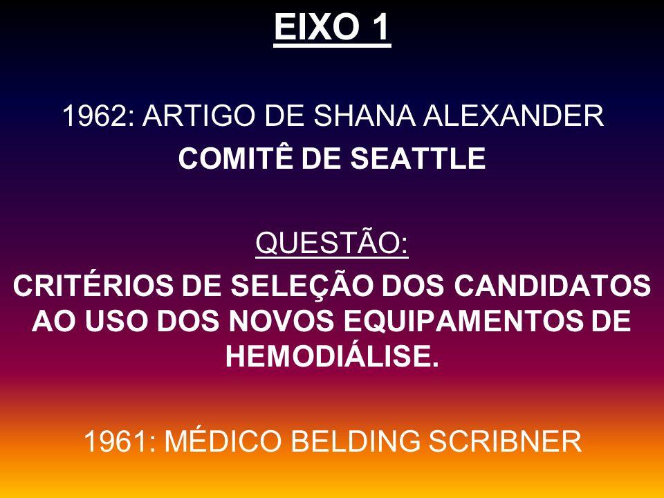 EIXO 1 1962: ARTIGO DE SHANA ALEXANDER COMITÊ DE SEATTLE QUESTÃO: CRITÉRIOS DE SELEÇÃO DOS CANDIDATOS AO USO DOS NOVOS EQUIPAMENTOS DE HEMODIÁLISE. 19