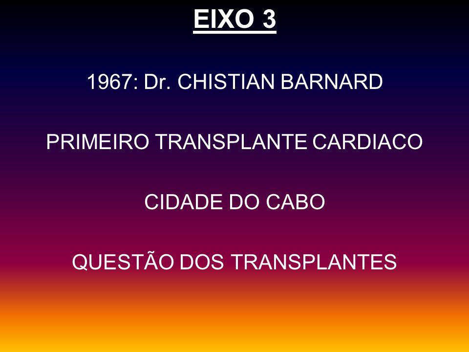 EIXO 3 1967: Dr. CHISTIAN BARNARD PRIMEIRO TRANSPLANTE CARDIACO CIDADE DO CABO QUESTÃO DOS TRANSPLANTES