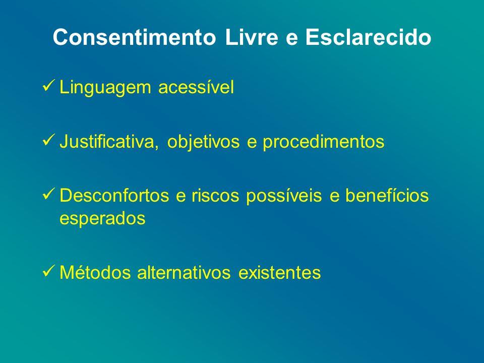 Consentimento Livre e Esclarecido Linguagem acessível Justificativa, objetivos e procedimentos Desconfortos e riscos possíveis e benefícios esperados Métodos alternativos existentes