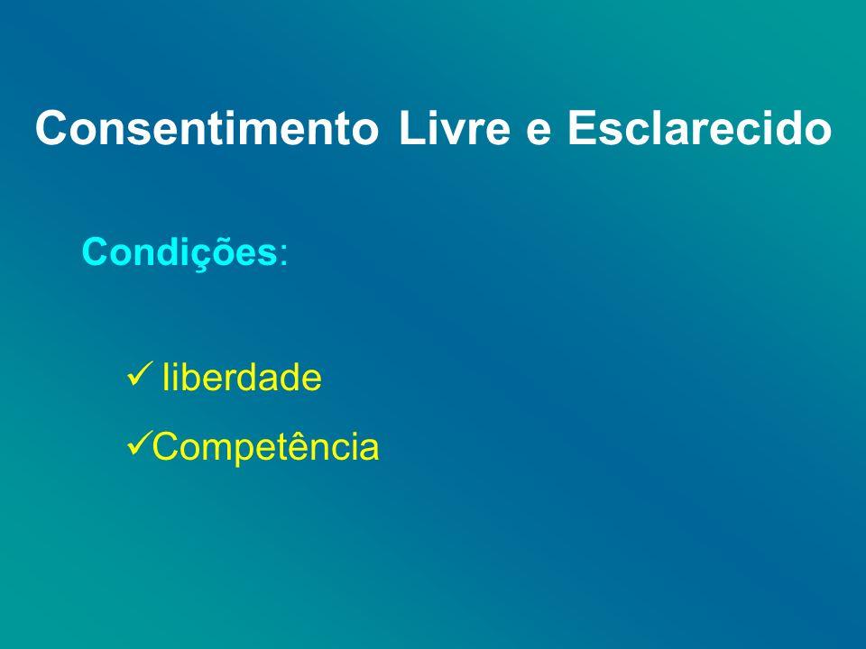 Consentimento Livre e Esclarecido Condições: liberdade Competência