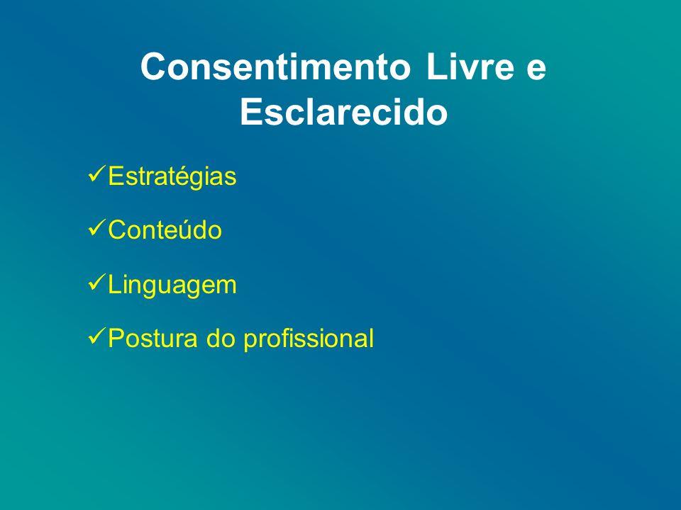 Consentimento Livre e Esclarecido Estratégias Conteúdo Linguagem Postura do profissional