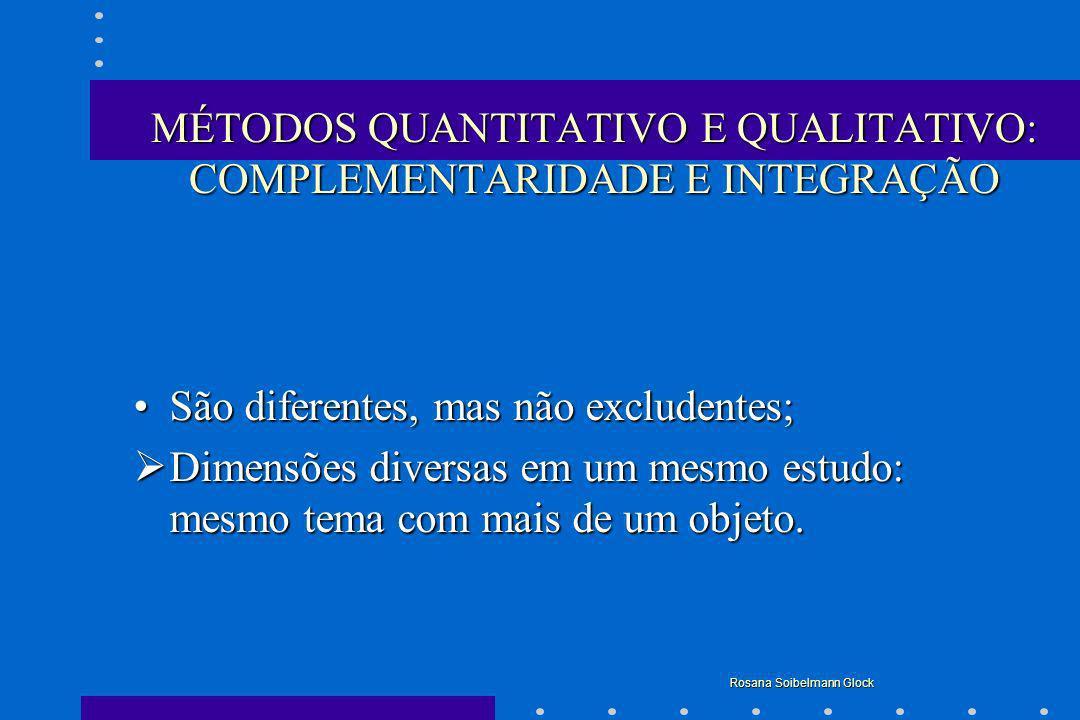 MÉTODOS QUANTITATIVO E QUALITATIVO: COMPLEMENTARIDADE E INTEGRAÇÃO São diferentes, mas não excludentes;São diferentes, mas não excludentes; Dimensões