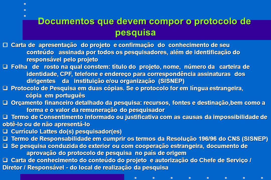 ocumentos que devem compor o protocolo de pesquisa Documentos que devem compor o protocolo de pesquisa Carta de apresentação do projeto e confirmação