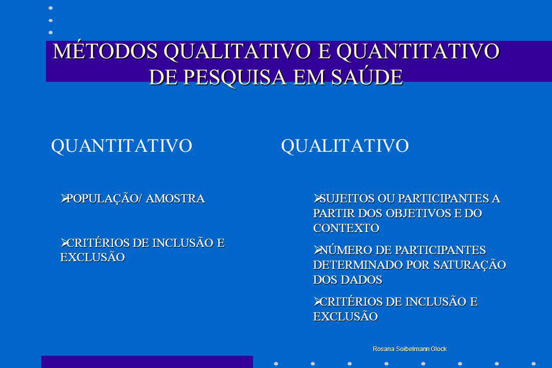 QUANTITATIVO QUALITATIVO INSTRUMENTOS QUESTÕES FECHADAS, PREVIAMENTE ESTABELECIDAS A PARTIR DAS VARIÁVEIS DO ESTUDO INSTRUMENTOS QUESTÕES FECHADAS, PREVIAMENTE ESTABELECIDAS A PARTIR DAS VARIÁVEIS DO ESTUDO CODIFICAÇÃO DE DADOS, BANCO DE DADOS E ANÁLISE ESTATÍSTICA CODIFICAÇÃO DE DADOS, BANCO DE DADOS E ANÁLISE ESTATÍSTICA OBSERVAÇÕES, ENTREVISTAS, GRUPOS FOCAIS OBSERVAÇÕES, ENTREVISTAS, GRUPOS FOCAIS TÉCNICA DE ANÁLISE DE CONTEÚDO TÉCNICA DE ANÁLISE DE CONTEÚDO Rosana Soibelmann Glock MÉTODOS QUALITATIVO E QUANTITATIVO DE PESQUISA EM SAÚDE