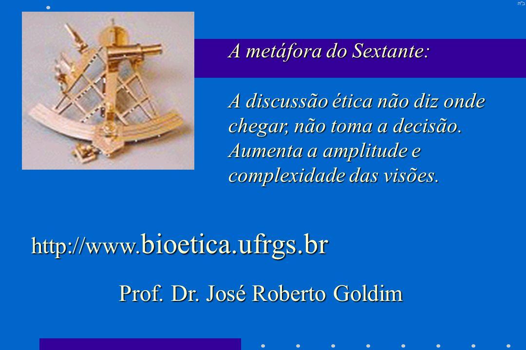 A metáfora do Sextante: A discussão ética não diz onde chegar, não toma a decisão. Aumenta a amplitude e complexidade das visões. Prof. Dr. José Rober