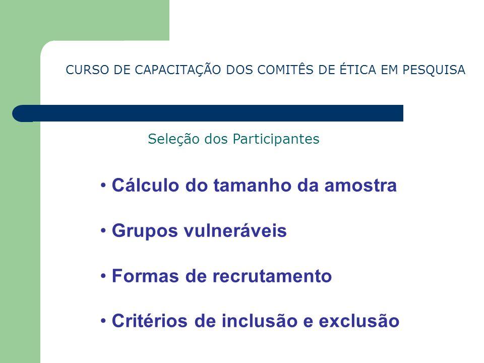CURSO DE CAPACITAÇÃO DOS COMITÊS DE ÉTICA EM PESQUISA Cálculo do tamanho da amostra Grupos vulneráveis Formas de recrutamento Critérios de inclusão e