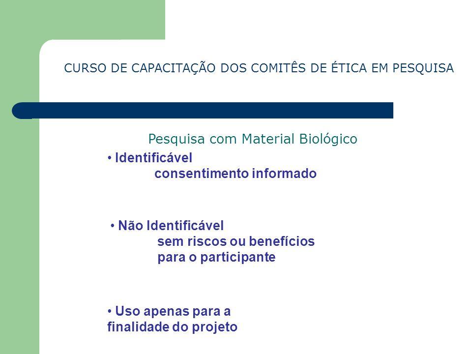 CURSO DE CAPACITAÇÃO DOS COMITÊS DE ÉTICA EM PESQUISA Pesquisa com Material Biológico Identificável consentimento informado Não Identificável sem risc
