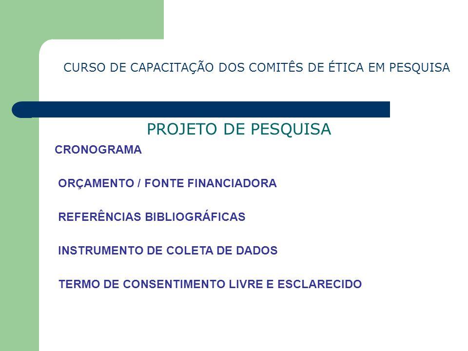 CURSO DE CAPACITAÇÃO DOS COMITÊS DE ÉTICA EM PESQUISA PROJETO DE PESQUISA CRONOGRAMA ORÇAMENTO / FONTE FINANCIADORA REFERÊNCIAS BIBLIOGRÁFICAS INSTRUM